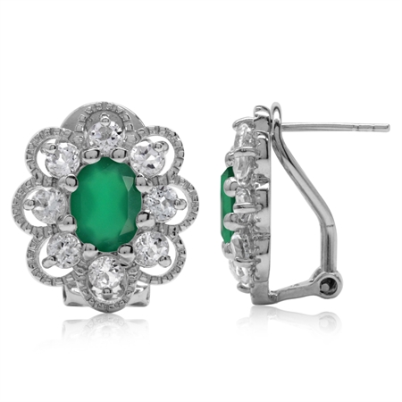 2.12ct. Emerald Green Agate & White Topaz Gold Plated 925 Sterling Silver Flower Omega Clip Earrings