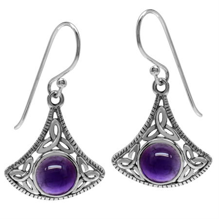 Cabochon Amethyst 925 Sterling Silver Triquetra Celtic Knot Dangle Hook Earrings