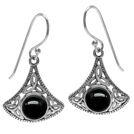 Created Black Onyx 925 Sterling Silver Triquetra Celtic Knot Dangle Hook Earrings