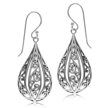 925 Sterling Silver Victorian Style Drop Shape Dangle Earrings