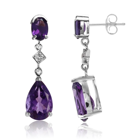 5.58ct. Natural African Amethyst & White Topaz 925 Sterling Silver Drop Dangle Post Earrings