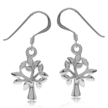 White Gold Plated 925 Sterling Silver Tree of Life Dangle Hook Earrings