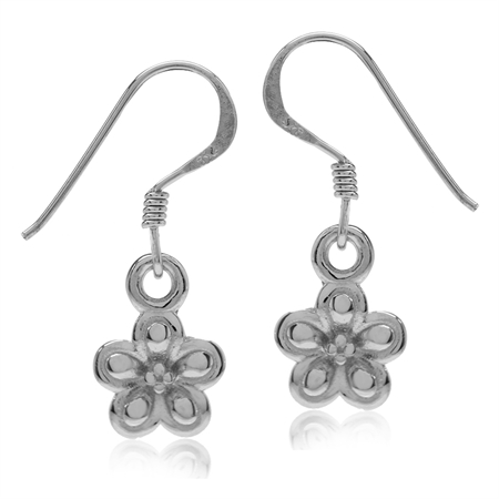 White Gold Plated 925 Sterling Silver Flower Dangle Hook Earrings