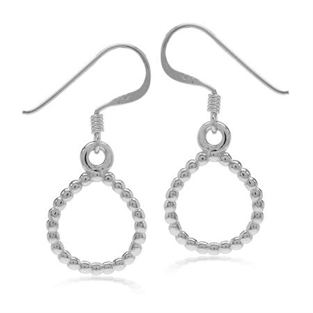 White Gold Plated Beaded Ball Pattern 925 Sterling Silver Drop Shape Donut Dangle Hook Earrings