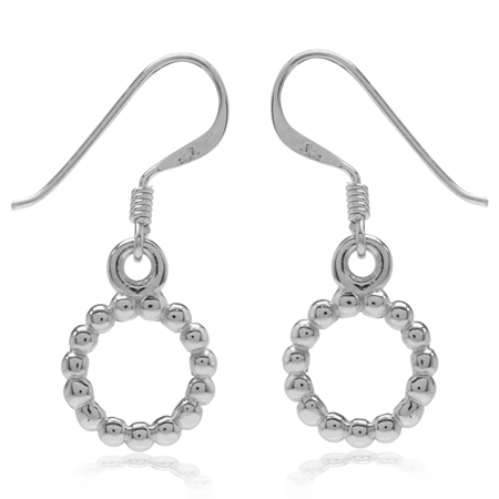White Gold Plated Beaded Ball Pattern 925 Sterling Silver Donut Dangle Hook Earrings