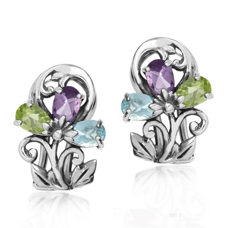 Blue Topaz, Amethyst & Peridot 925 Sterling Silver Victorian Style Flower & Leaf Omega Clip Earrings