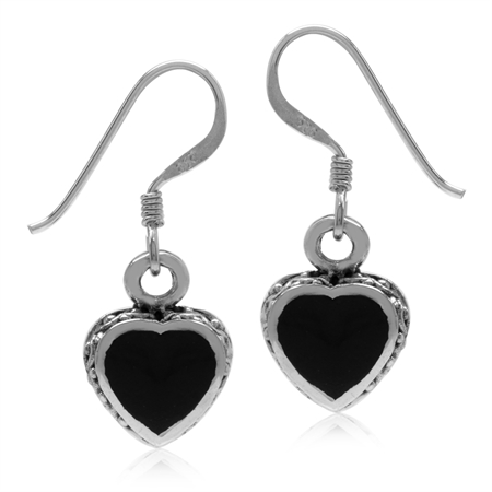 Heart Shape Created Black Onyx Inlay 925 Sterling Silver Dangle Hook Earrings
