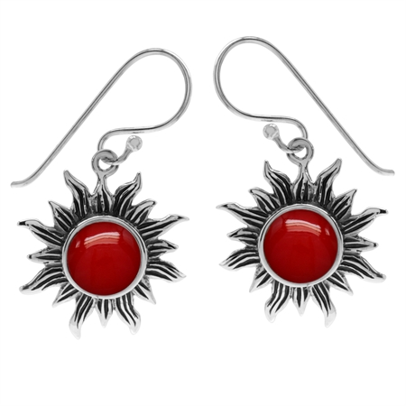 Created Red Coral 925 Sterling Silver Sun Ray Inspired Dangle Hook Earrings