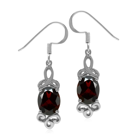4.18ct. Natural Garnet White Gold Plated 925 Sterling Silver Triquetra Celtic Knot Dangle Earrings
