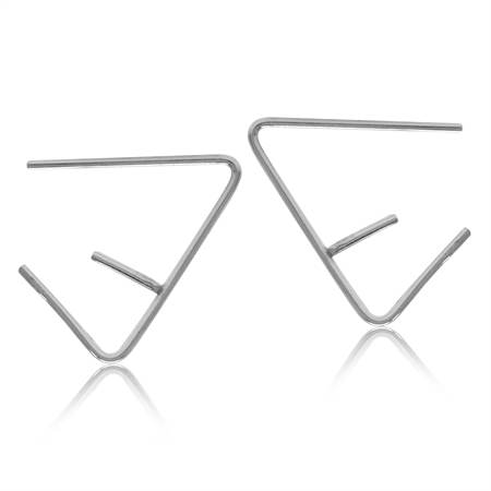Minimalist Gold Plated 925 Sterling Silver Triangle E Hoop Skinny Wire Earrings