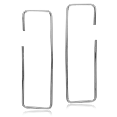 Minimalist Gold Plated 925 Sterling Silver Rectangle Hoop Skinny Wire Earrings