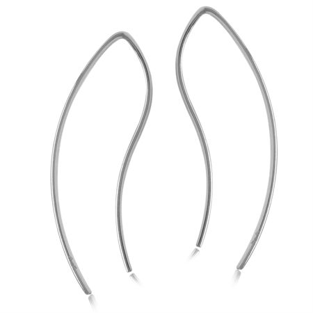 Minimalist Gold Plated 925 Sterling Silver Curve/Curvy Skinny Wire Earrings
