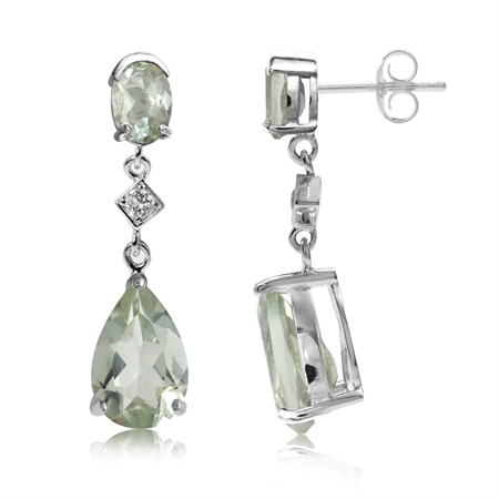 6.52ct. Natural Green Amethyst & White Topaz 925 Sterling Silver Drop Dangle Post Earrings