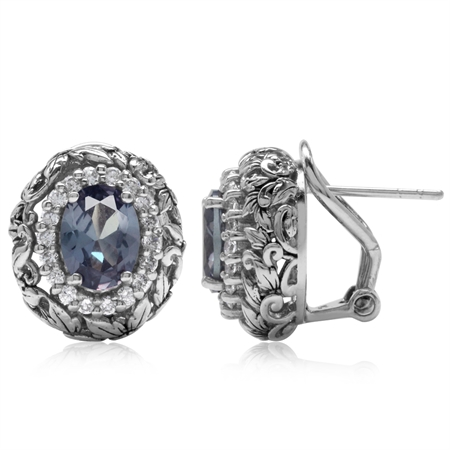 Simulated Color Change Alexandrite 925 Sterling Silver Leaf Vintage Style Omega Clip Earrings