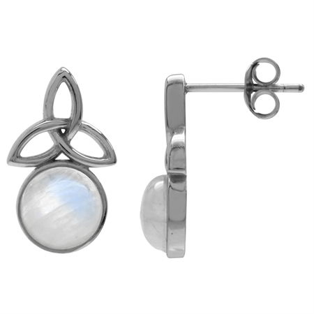 Natural Moonstone White Gold Plated 925 Sterling Silver Triquetra Celtic Knot Post Earrings