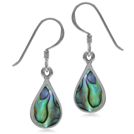 Abalone/Paua Shell Inlay White Gold Plated 925 Sterling Silver Drop Dangle Earrings