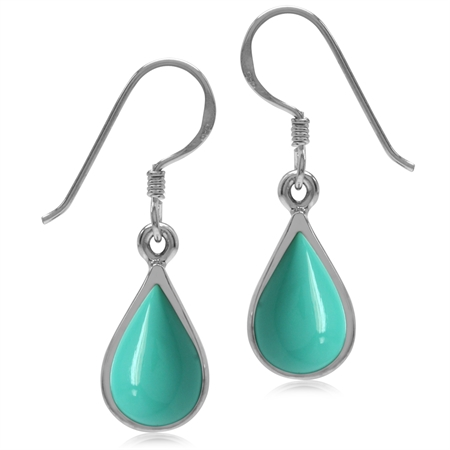 Created Green Turquoise White Gold Plated 925 Sterling Silver Drop Dangle Earrings