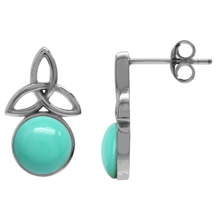 Created Green Turquoise White Gold Plated 925 Sterling Silver Triquetra Celtic Knot Post Earrings