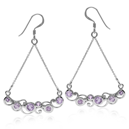 1.36ct. Natural Amethyst White Gold Plated 925 Sterling Silver Swirl & Spiral Chain Dangle Earrings