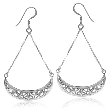 White Gold Plated 925 Sterling Silver Triquetra Celtic Knot Chain Dangle Earrings
