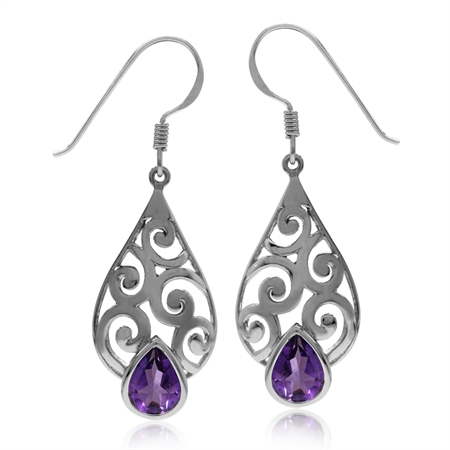 1.98ct Natural Amethyst Gold Plated 925 Sterling Silver Filigree Swirl & Spiral Drop Dangle Earrings