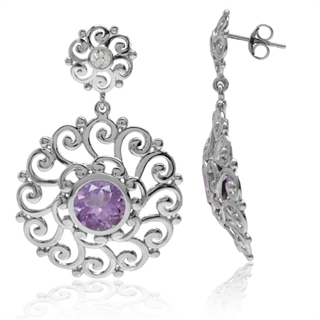3.4ct. Natural Amethyst&Topaz 925 Sterling Silver Swirl&Spiral Round Disc Shape Dangle Post Earrings