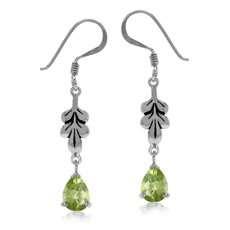 1.48ct. Natural Peridot White Gold Plated 925 Sterling Silver Leaf Drop Dangle Hook Earrings