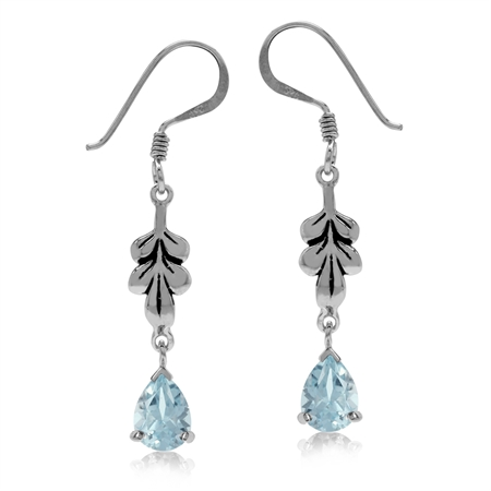 1.8ct. Genuine Blue Topaz White Gold Plated 925 Sterling Silver Leaf Drop Dangle Hook Earrings