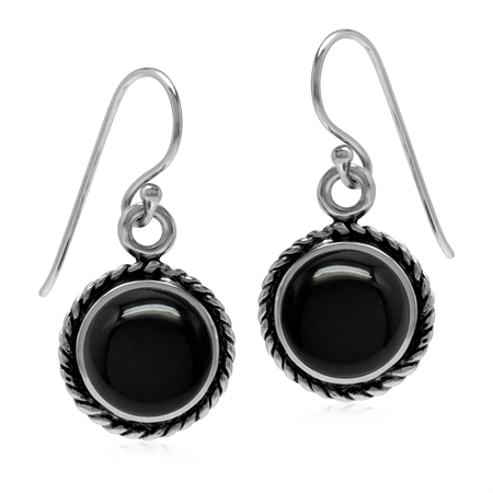 10MM Created Round Shape Black Onyx 925 Sterling Silver Rope Dangle Hook Earrings