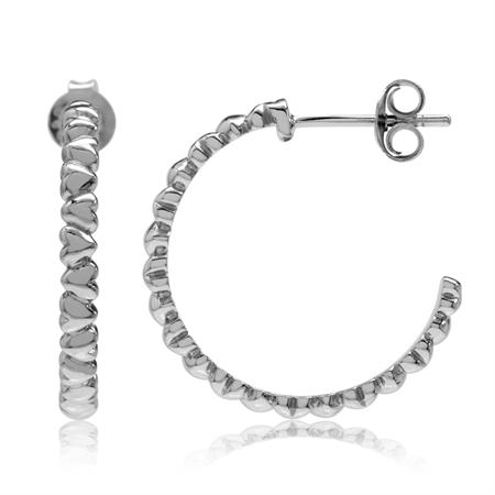 White Gold Plated 925 Sterling Silver Heart C-Hoop Earrings