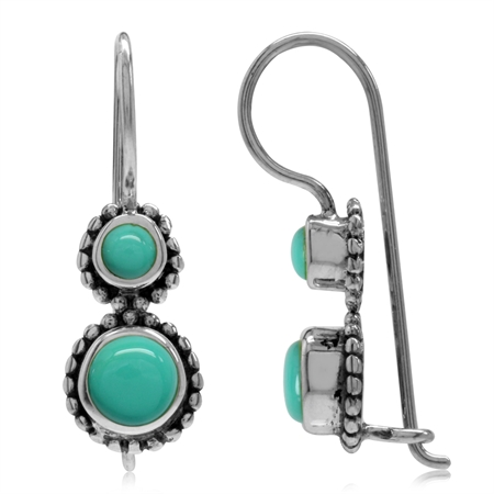 Created Green Turquoise 925 Sterling Silver Bali/Balinese Style Hook Earrings