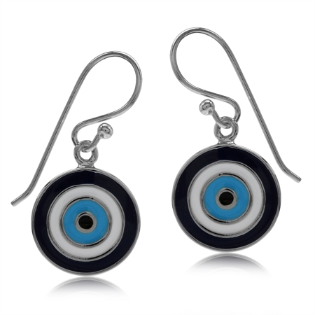 Blue & White Enamel Gold Plated 925 Sterling Silver Evil Eye Dangle Hook Earrings
