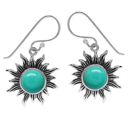 Created Green Turquoise 925 Sterling Silver Sun Ray Inspired Dangle Hook Earrings
