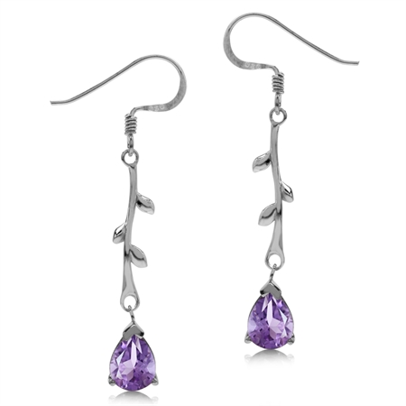 1.88ct. Natural Amethyst White Gold Plated 925 Sterling Silver Vine Leaf Dangle Hook Earrings