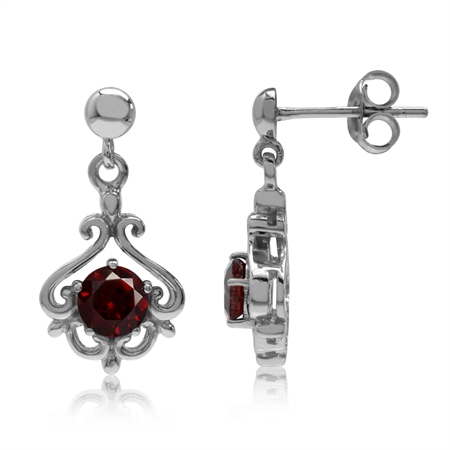 1.08ct. Natural Garnet White Gold Plated 925 Sterling Silver Victorian Style Dangle Post Earrings