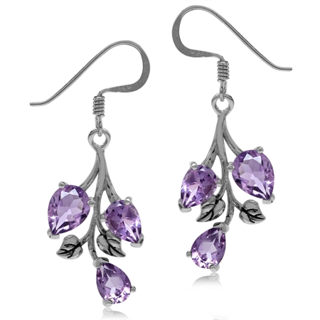 4.66ct. Natural Amethyst 925 Sterling Silver Leaf Dangle Hook Earrings