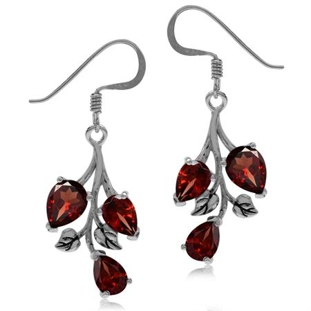 5.7ct. Natural Garnet 925 Sterling Silver Leaf Dangle Hook Earrings