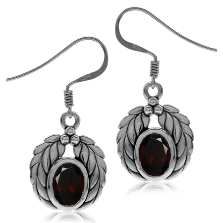 2.9ct. Natural Garnet 925 Sterling Silver Leaf Dangle Hook Earrings