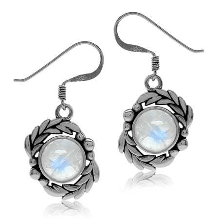 Natural Moonstone 925 Sterling Silver Leaf Dangle Hook Earrings