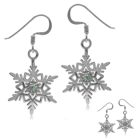 Simulated Color Change Alexandrite 925 Sterling Silver Snowflake Dangle Hook Earrings