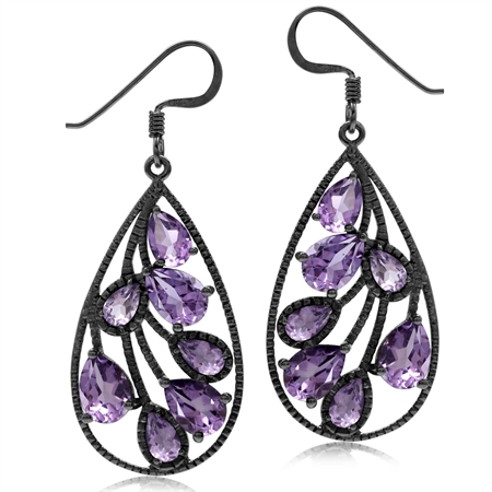 6.04ct. Natural Amethyst Black Rhodium Plated 925 Sterling Silver Drop Dangle Earrings