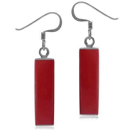 Long Red Created Coral White Gold Plated 925 Sterling Silver Dangle Hook Earrings