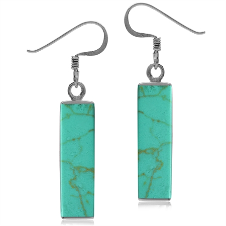 Long Green Created Turquoise White Gold Plated 925 Sterling Silver Dangle Hook Earrings
