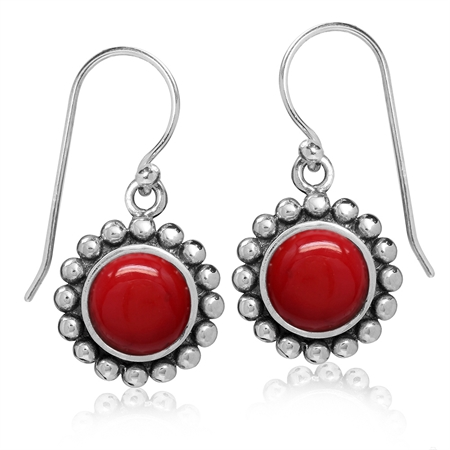 8MM Created Red Coral 925 Sterling Silver Bali/Balinese Style Dangle Hook Earrings