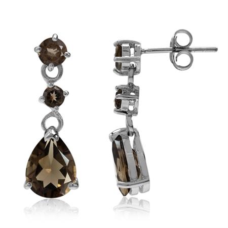 3.52ct. Natural Smoky Quartz 925 Sterling Silver Drop Dangle Post Earrings