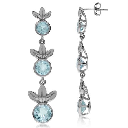 6.36ct. 3-Stone Genuine Round Blue Topaz 925 Sterling Silver Graduated Leaf Dangle Post Earrings