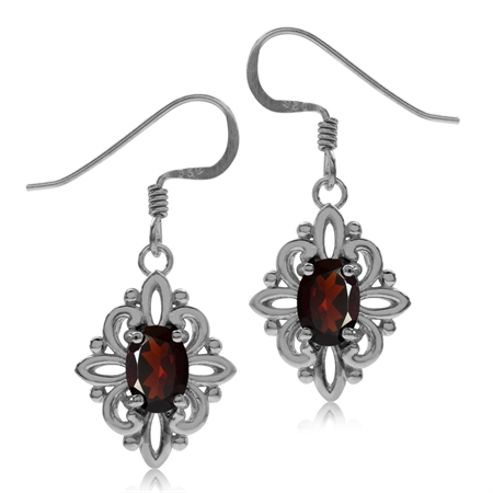 1.8ct. Natural Garnet White Gold Plated 925 Sterling Silver Victorian Style Flower Dangle Earrings