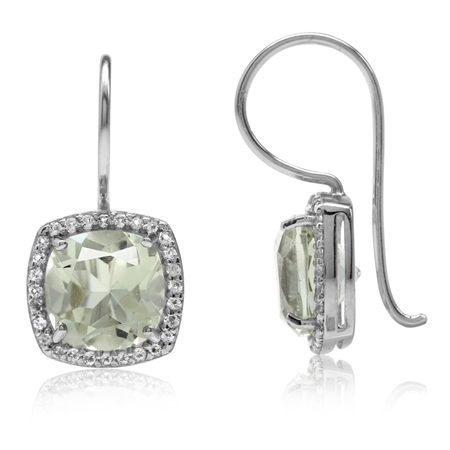 4.12ct. Natural Green Amethyst & White Topaz Gold Plated 925 Sterling Silver Hook Earrings