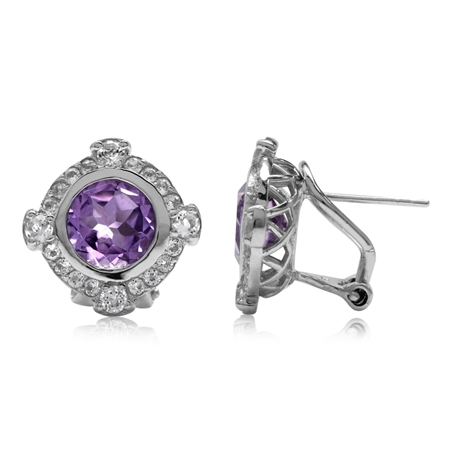 3.4ct. Natural Round Shape Amethyst Gold Plated 925 Sterling Silver Omega Clip Post Earrings