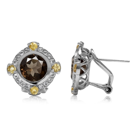 3.74ct. Natural Round Shape Smoky Quartz & Citrine 925 Sterling Silver Omega Clip Post Earrings